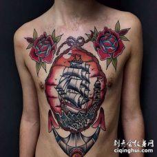 Old School前胸腹部玫瑰船锚纹身图案