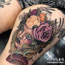 New School大腿女人花卉纹身图案