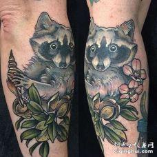 小腿外侧浣熊与树叶