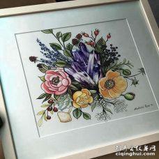 New School手稿花卉宝石纹身图案