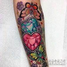 手臂内侧new school钻石与蝴蝶