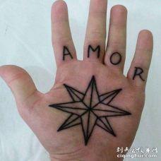 手掌八角星与字母