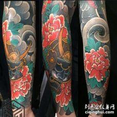 手臂日式传统人物与花
