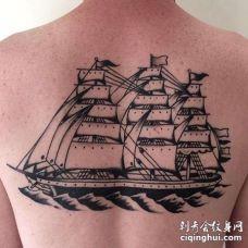背部old school风格帆船