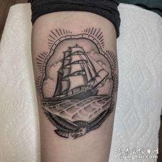 手臂点刺创意鹰与帆船
