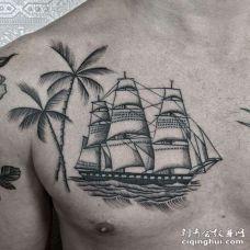 胸部点刺树与帆船