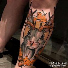 New School小腿兔子纹身图案