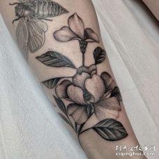 小腿侧点刺花朵