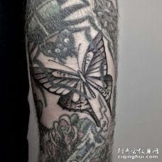 手臂内侧点刺蝴蝶
