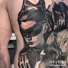 写实后背人像纹身图案