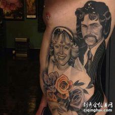 写实侧腰人像纹身图案