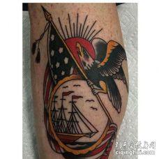 Old School小腿老鹰帆船纹身图案