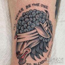 Old School小腿羊纹身图案