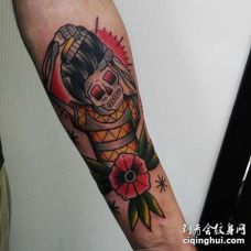 Old School小臂骷髅纹身图案