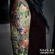 写实大腿鹿纹身图案