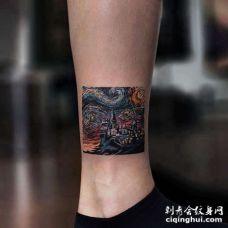 小腿星空纹身图案