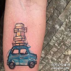 水彩小臂汽车纹身图案