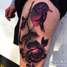 New School大腿鸟玫瑰纹身图案