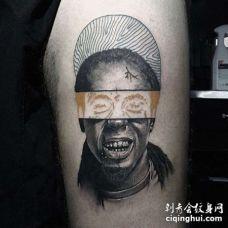 写实小腿人像纹身图案