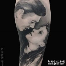 写实小腿女人纹身图案