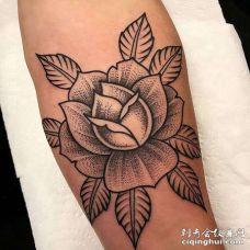 线条小臂玫瑰纹身图案