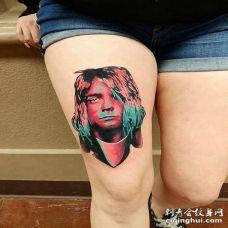 水彩大腿人像纹身图案