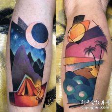 水彩小腿风景纹身图案