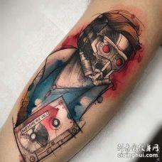 线条水彩大臂蚁人纹身图案