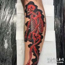 日式小腿骷髅纹身图案