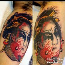 日式大臂人头纹身图案