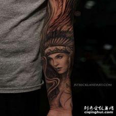 写实小臂印第安女人纹身图案