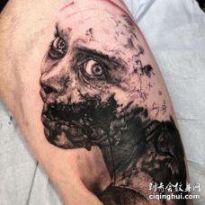 写实大腿女人纹身图案
