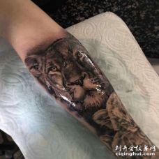 写实小臂狮子纹身图案