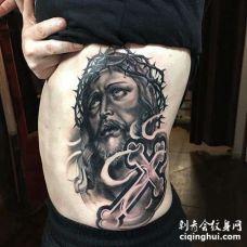 写实侧腰耶稣纹身图案