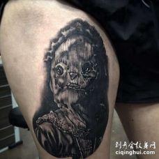 写实大腿纹身图案