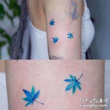 小清新大臂枫叶纹身图案