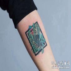 小清新小臂叶子纹身图案