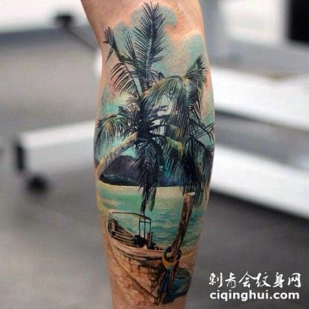 小腿写实风格船与棕榈树和海洋纹身图案