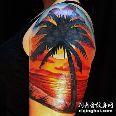大臂彩绘浪漫海洋日落与棕榈树纹身图案