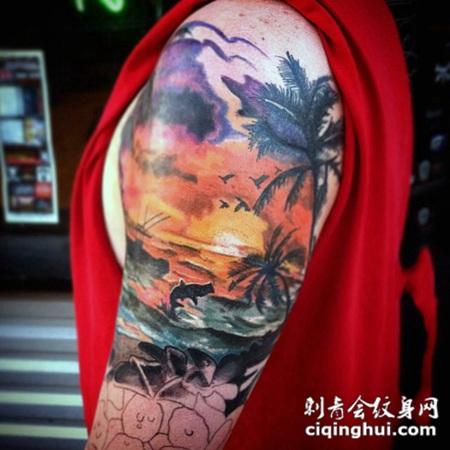 非常浪漫的彩色海洋日落与动物和棕榈树手臂纹身图案