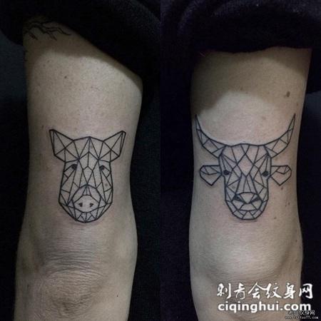 大臂几何线条猪牛纹身图案