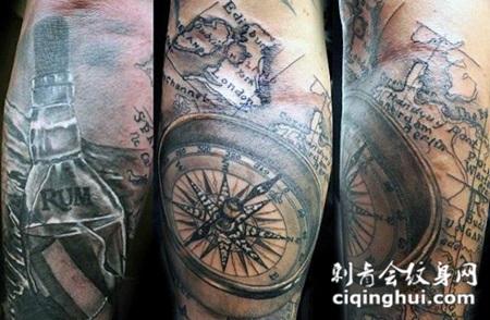 手臂3D黑色的海洋地图和指南针纹身图案