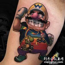 超级玛丽纹身 男生手臂上彩色的超级玛丽纹身图片