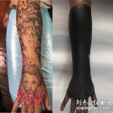 黑臂暴力遮盖的纹身作品赏析