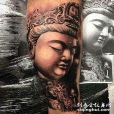 纹身佛头包小臂包小腿的佛像纹身图案