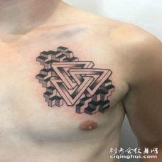 男生胸前黑灰立体创意纹身图片