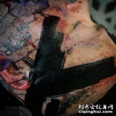 极致黑色的黑臂黑指黑腿纹身作品