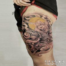 大腿战神无畏斗战胜佛霸气纹身图案