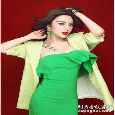 气质美女模特冯雨芝性感胸部字母纹身图案