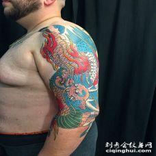 手臂大气的火麒麟纹身图案